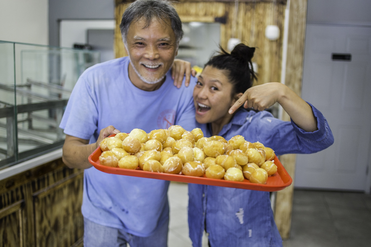 Vatsana and her grandfather, the Donut Master