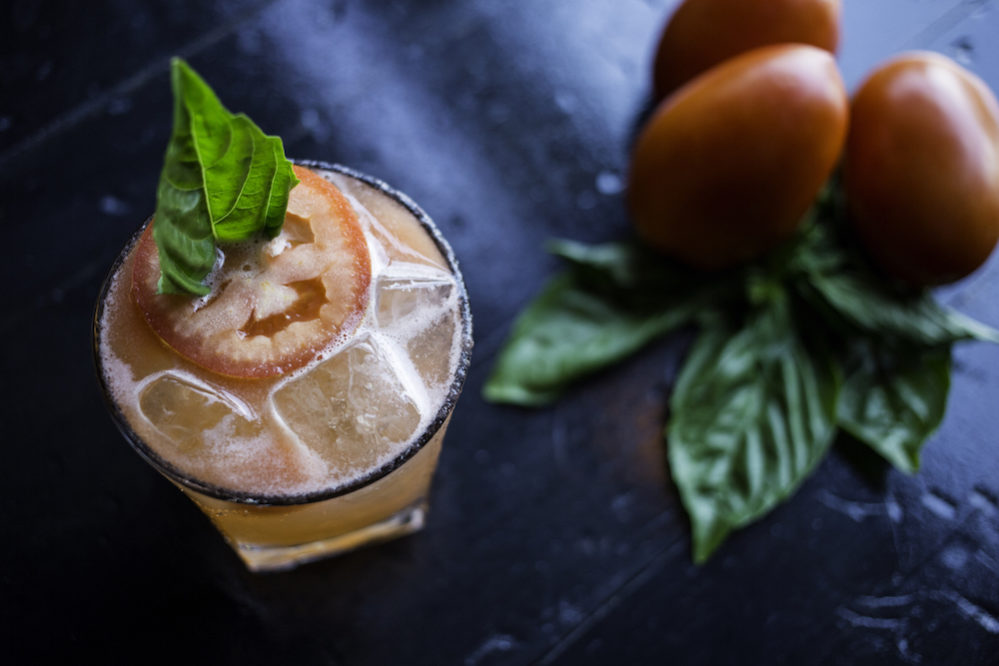 The Garden Party ($8) made with tobacco vodka, Aperol, elderflower liqueur, lemon juice, roma tomatoes, fresh basil, and is topped with Sauvignon Blanc
