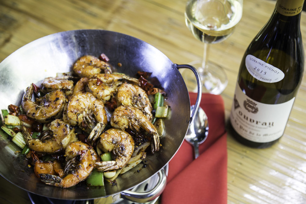 Mala Sichuan dry pot prawns paired with Pichot Vouvray or The Huet Vouvray