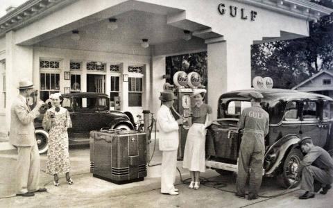 The Gulf refueling station at 3709 La Branch, which is now a historic landmark and home of Retrospect Coffee Bar. FreshArts photo