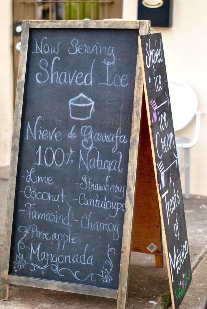 The menu board outside of Treats of Mexico.