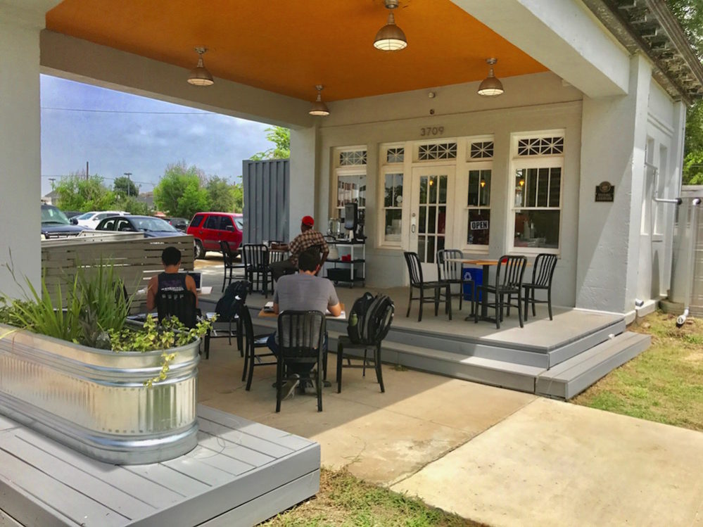 The front patio at Retrospect Coffee Bar. Present day photos by Isaiah Peters.