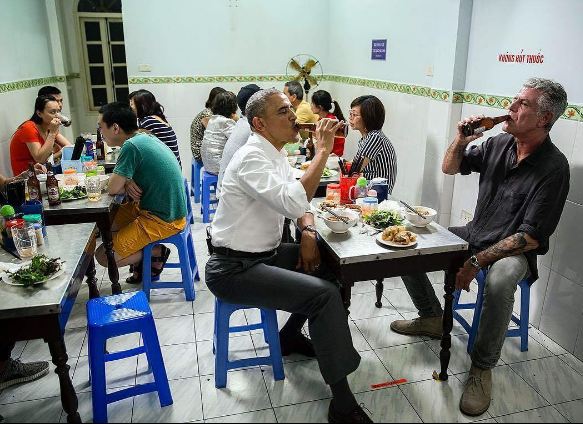 President Obama and Anthony Bourdain in Hanoi, 2016. Photo by Pete Souza from his Instagram feed, instagram.com/petesouza