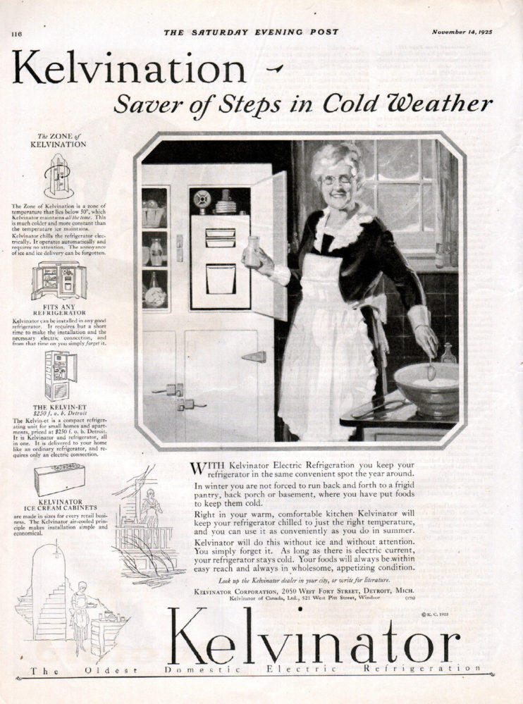 In this 1925 ad, the Kelvinator refrigerator boasts that it saves you from stepping outside in the winter to access your refrigerator; Houstonians always appreciate a frosty beverage.