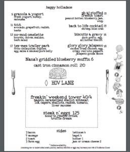 Sample brunch menu from Nobie's. Click to enlarge.